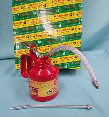 EASTMAN 3/4 Pint Metal Oil Can Straight & Flexible Spout Nozzle Pump Brand-new