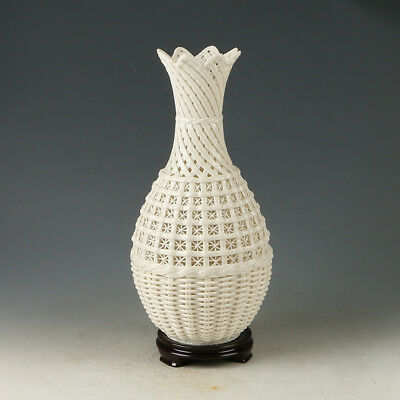 Chinese Exquisite Dehua Porcelain Handwork Carved Hollowed Vase @G179`a
