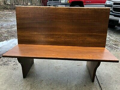 Vintage antique oak dark wood bench made from early 1900's church pews