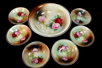 RS Germany? 7 Piece Berry Set - Rose Decoration with Gold - EXC
