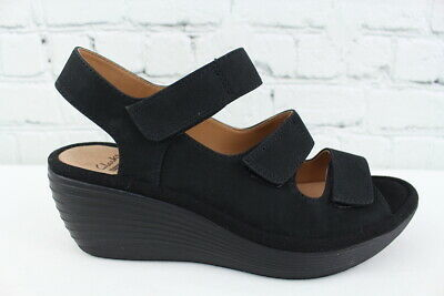 8f583344c24f CLARKS REEDLY JUNO Womens Black Nubuck Wedge Sandal Size 7M -  27.95 ...