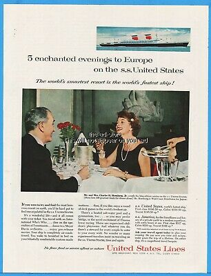 1960 SS United States Lines Cruise Ship Charles Hornburg Jr Ad Advertising