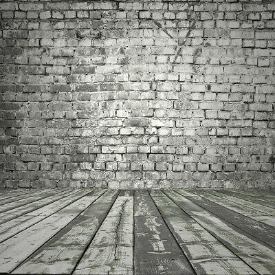 Grunge Brick Wall Vintage Wood Floor Vinyl Backdrops Background Studio 10X10FT
