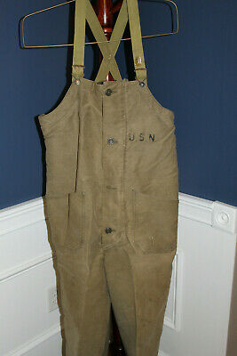 11e72a174ab Original WW2 U.S. Navy Cold Weather Tan Colored Overhauls (Bib) w Suspenders