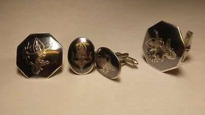 2 Vintage Sets of Sterling Silver .925 Niello Cuff Links Hand Made in Siam