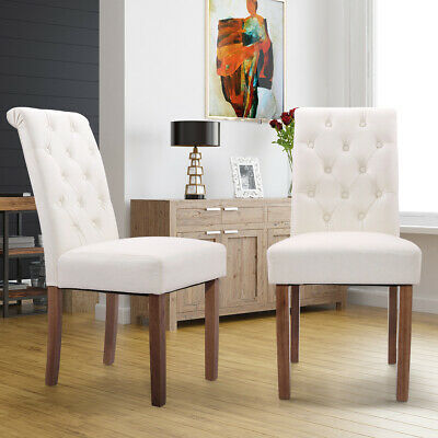 Solid Wood High Back Button-Tufted Upholstered Fabric Dining Chairs, Set of 2