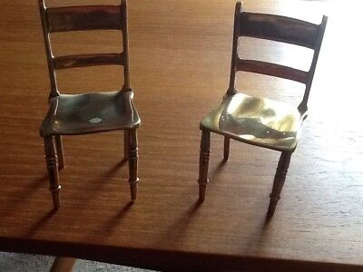 2 Antique Brass Miniature Slat Back Chairs