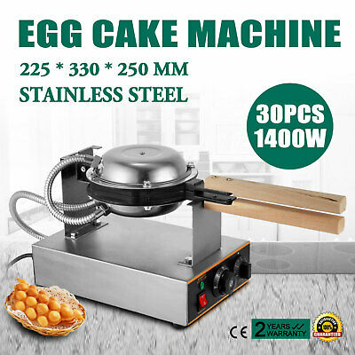 Stainless Electric Bubble Egg Cake Maker Oven Non Stick Waffle Baker Machine USA