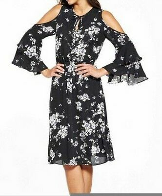 4d7513addd8 NEW V by Very Printed Cold Shoulder Dress - BLACK PRINT - SIZE 22