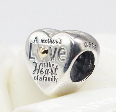 Authentic Pandora Silver & 14K Gold Heart of the Family Bead 796265