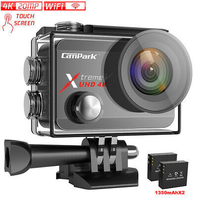Campark 4K 60fps Action Camera 20MP Anti-Shake Touch Screen Waterproof Video Cam