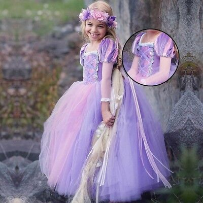 Girl Frozen Queen Princess Dress Fancy Costume Kids Cosplay Tulle Prom Gowns AU
