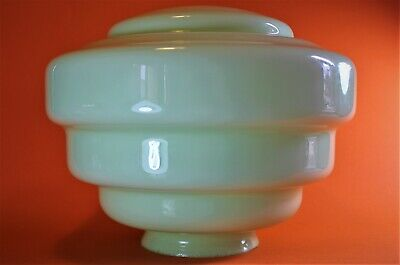 ART DECO LIGHT SHADE  Pendant  Green GLASS STEPPED Beehive Flying Saucer UFO VGC