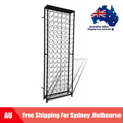 108 Bottle 191cm Metal Wine Cabinet Storage Rack Stand Holder Home Bar D7U3