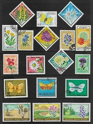 MONGOLIA mixed collection No.28, Flowers, Butterflies