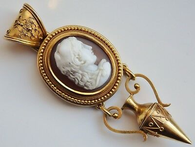 Rare Antique Victorian 18ct Gold Etruscan Cameo Pendant Depicting Omphale c1885
