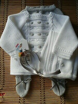 Bnwt Spanish Baby Gray And White Details 3Pc Fine-Knit Outfit-00M