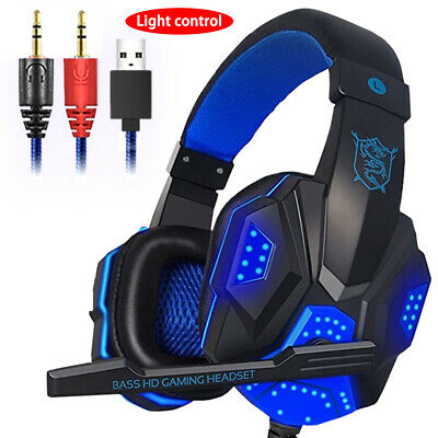 2019 3.5mm Gaming Headset MIC LED Headphones for PC Mac Laptop PS4 Slim Xbox One