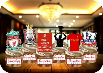 Liverpool Colours Champions Party Pack 12 STAND UP Edible Cake Toppers Football