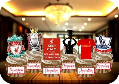 Liverpool LFC Champions Party Pack 12 STAND UP Edible Cake Toppers Football