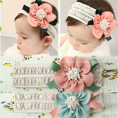 Kids Baby Girl Cute Toddler Lace Flower Hair Band Headwear Headband Accessory  B