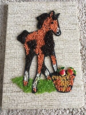 Vintage Gravel Pebbled Rock Art Horse Apples 8×5.5