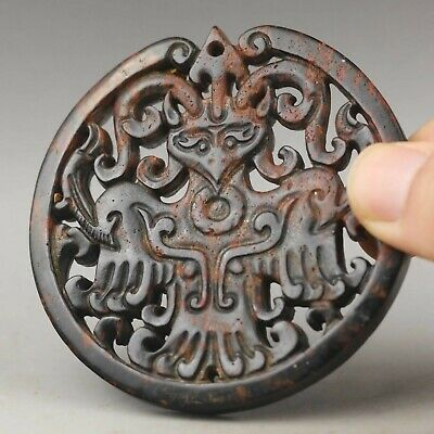 Chinese old natural jade hand-carved dragon pendant 2.8 inch