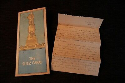VINTAGE ILLUSTRATED SUEZ CANAL FOLDING MAP  1940s  WITH LETTER
