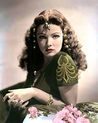 """GENE TIERNEY SUNDOWN 1941 HOLLYWOOD ACTRESS 8x10"""" HAND COLOR TINTED PHOTOGRAPH"""