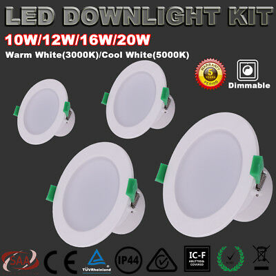 Recessed Led Downlight Kit Dimmable 10W/12W/16W/20W Warm/cool White Down Lights