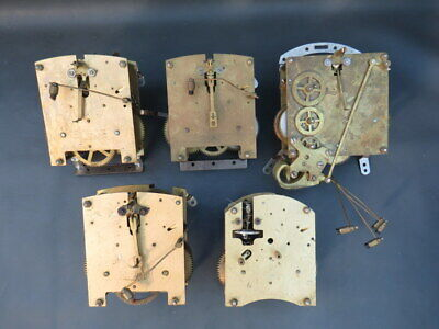 Job lot of 5 vintage clock movements Smiths & Enfield for parts spares steampunk
