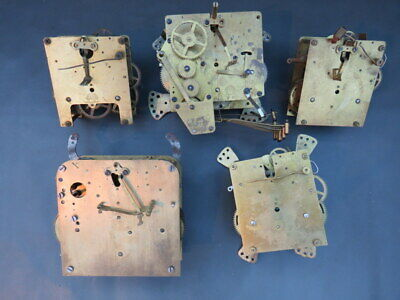 Job lot of 5 vintage clock movements Haller for parts spares steampunk