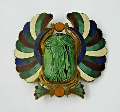 Piel Freres Egyptian Revival Scarab Beetle Enamel Belt Buckle Art Deco French