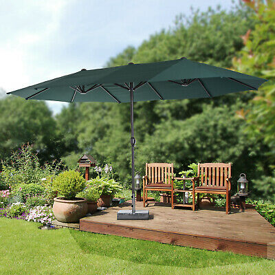 Outsunny 15ft Double-Sided Market Parasol Outdoor Twin Patio Umbrella Green