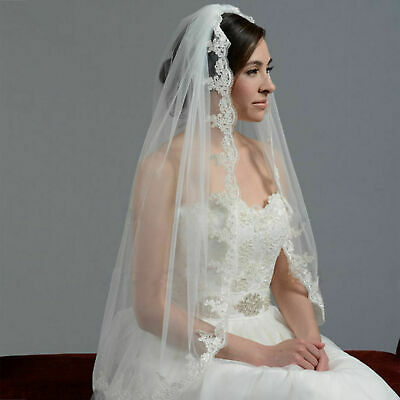 White 1 Layer Lace Edge Wedding Accessory Bridal Veil with Comb