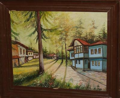 Forest Landscape Houses Oil Painting Signed