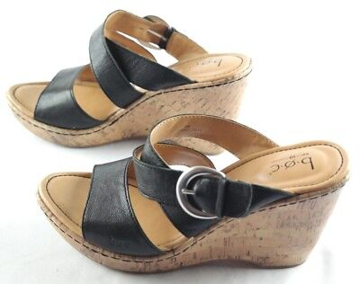 346689b757b5 Boc Born Concept Wedge Sandals Womens Size 9 Black Slip On Cork Heel Shoes