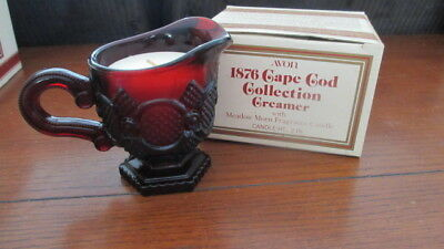 Avon 1876 Cape Code Collection Cranberry Ruby Red Creamer W/ Meadow Morn Candle