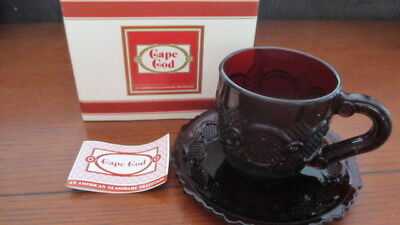 Avon 1876 Cape Code Collection Cranberry Ruby Red Cup Saucer Set