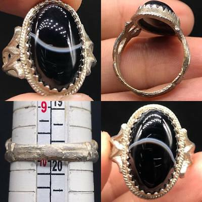 Wonderful Antique Post Medieval Silver ring With Solomany Agate 1900 AD #SR105