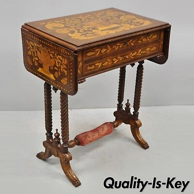 19th C. Dutch Marquetry Inlaid Regency Style Drop Leaf Sewing Stand Work Table