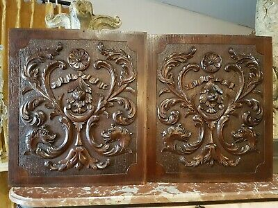 Antique French: Pair Carved Oak Door Panel Richly Decorated animals  - 19th