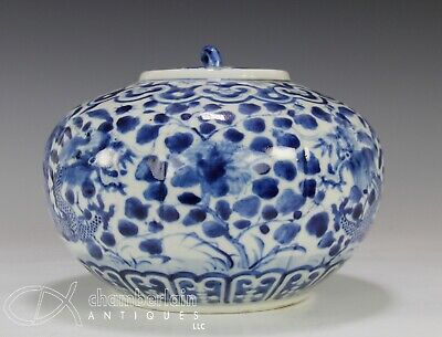 Old Chinese Blue and White Melon Form Covered Jar Pot