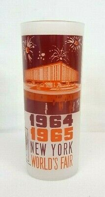 "1964-1965 New York Worl's Fair THE FEDERAL PAVILION 16oz Frosted Glass 6"" Tall"