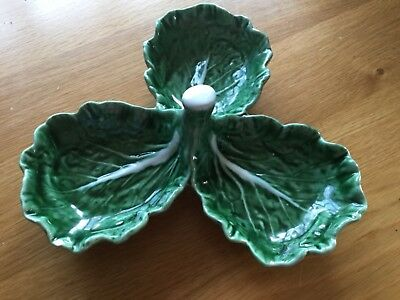 green cabbage pottery 3 leaf dish