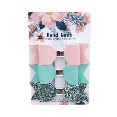 3Pcs Fashion Cloth Bow Hair Clips Set Chic Glitter Kids Grip Forked Tail shan