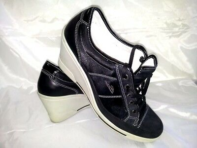 Sneakers Donna Nero Zeppa Strass Brillantini Scarpe Woman Shoes 39 Made In  Italy a3864d833be