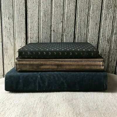 Set of 3 Primitive Blue Homespun Fabric Covered Books Reproduction