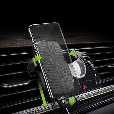 10W Qi Fast Wireless Car Charger Stand Air Vent Mount Holder For Samsung S8+ S9