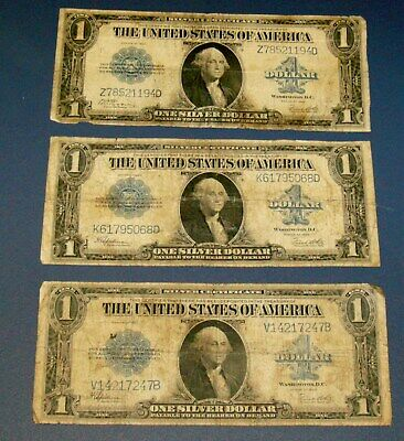 Three 1923 LARGE SILVER CERTIFICATE Horse Blanket $1 One Dollar Note